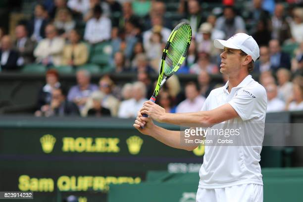 Sam Querrey of the United States in action against Marin Cilic of Croatia in the Gentlemen's Singles Semifinal of the Wimbledon Lawn Tennis...