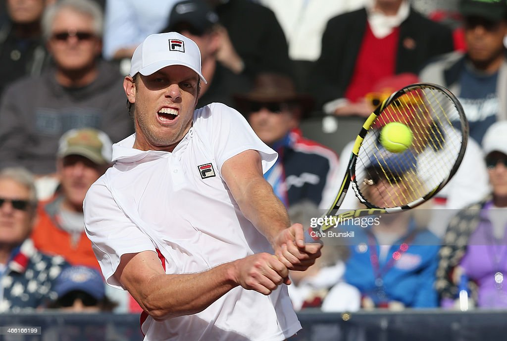 <a gi-track='captionPersonalityLinkClicked' href=/galleries/search?phrase=Sam+Querrey&family=editorial&specificpeople=736491 ng-click='$event.stopPropagation()'>Sam Querrey</a> of the United States plays a backhand against James Ward of Great Britain during day one of the Davis Cup World Group first round between the U.S. and Great Britain at PETCO Park on January 31, 2014 in San Diego, California.