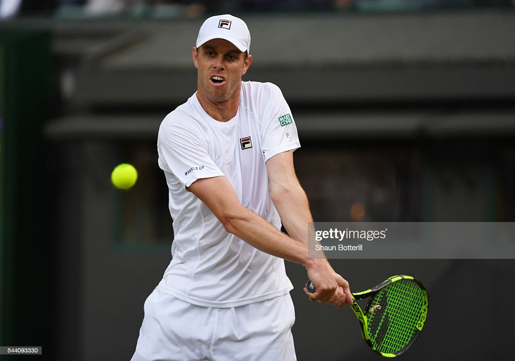 Sam Querrey of The United States plays a backhand during the Men's Singles third round match against Novak Djokovic of Serbia on day five of the Wimbledon Lawn Tennis Championships at the All England Lawn Tennis and Croquet Club on July 1, 2016 in London, England.