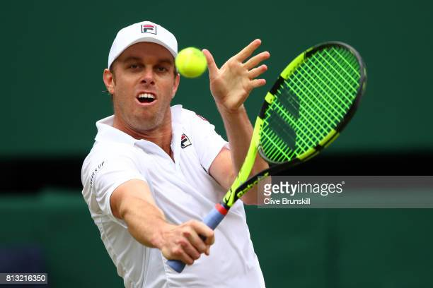 Sam Querrey of The United States plays a backhand during the Gentlemen's Singles quarter final match against Andy Murray of Great Britain on day nine...