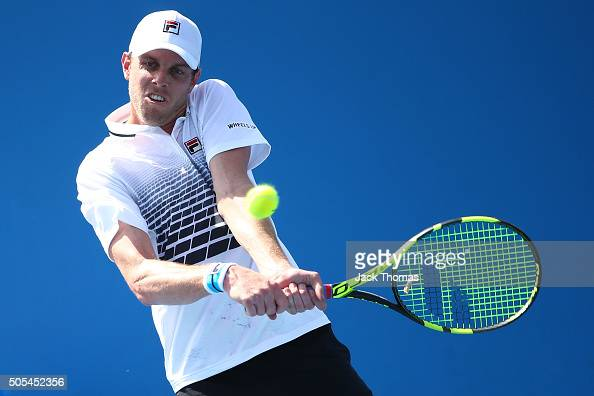 Sam Querrey of the United States plays a backhand in his first round match against Dusan Lajovic of Serbia during day one of the 2016 Australian Open...