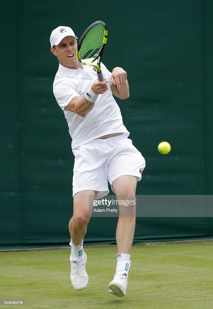 <a gi-track='captionPersonalityLinkClicked' href=/galleries/search?phrase=Sam+Querrey&family=editorial&specificpeople=736491 ng-click='$event.stopPropagation()'>Sam Querrey</a> of The United States plays a forehand shot during the Men's Singles first round against Lukas Rosol of The Czech Republic on day one of the Wimbledon Lawn Tennis Championships at the All England Lawn Tennis and Croquet Club on June 27th, 2016 in London, England.