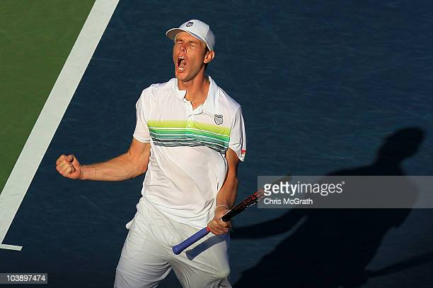 Sam Querrey of the United States reacts against Stanislas Wawrinka of Switzerland during his men's singles fourth round match on day nine of the 2010...