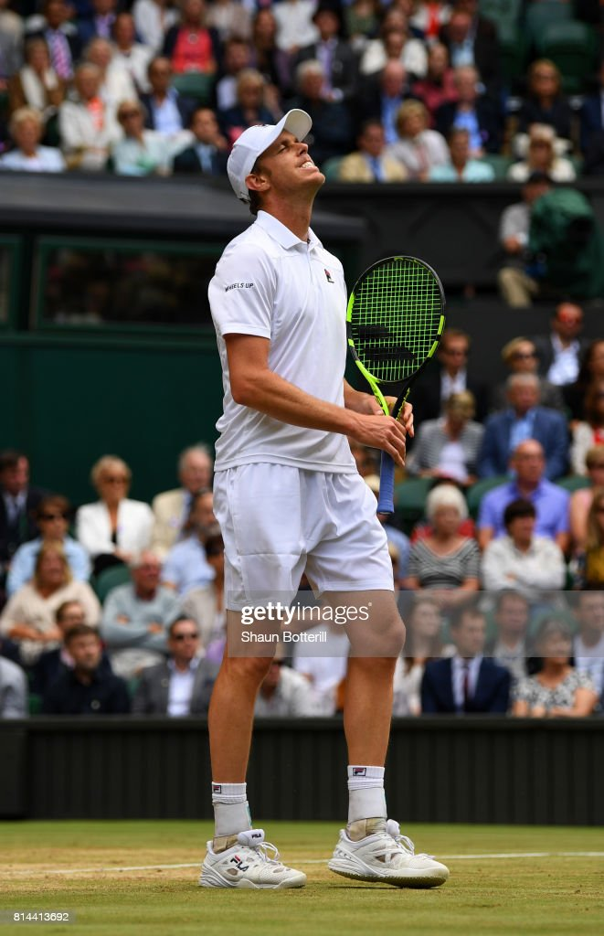 Sam Querrey of The United States reacts during the Gentlemen's Singles semi final match against Marin Cilic of Croatia on day eleven of the Wimbledon Lawn Tennis Championships at the All England Lawn Tennis and Croquet Club at Wimbledon at Wimbledon on July 14, 2017 in London, England.