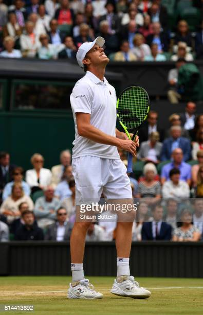 Sam Querrey of The United States reacts during the Gentlemen's Singles semi final match against Marin Cilic of Croatia on day eleven of the Wimbledon...