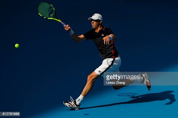 Sam Querrey of the United States returns a shot against Richard Gasquet of France during the Men's singles first round match on day five of the 2016...