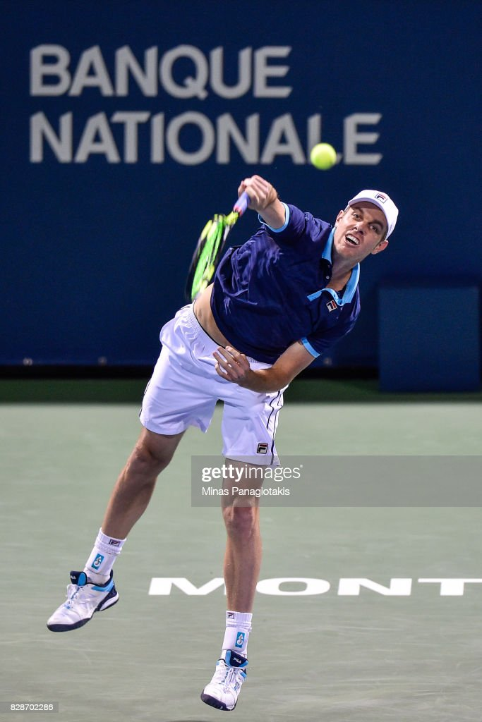Sam Querrey of the United States serves against Jo-Wilfried Tsonga of France during day six of the Rogers Cup presented by National Bank at Uniprix Stadium on August 9, 2017 in Montreal, Quebec, Canada.