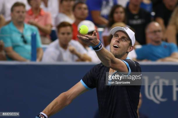 Sam Querrey of the United States serves during the Western Southern Open at the Lindner Family Tennis Center in Mason Ohio on August 16th 2017