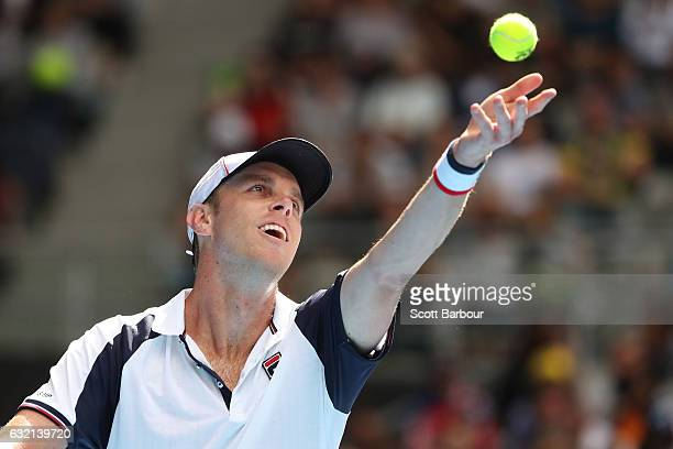 Sam Querrey of the United States serves in his third round match against Andy Murray of Great Britain on day five of the 2017 Australian Open at...