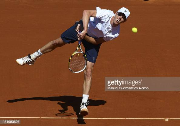 Sam Querrey of the United States serves the ball to to David Ferrer of Spain during day one of the semi final Davis Cup between Spain and the United...