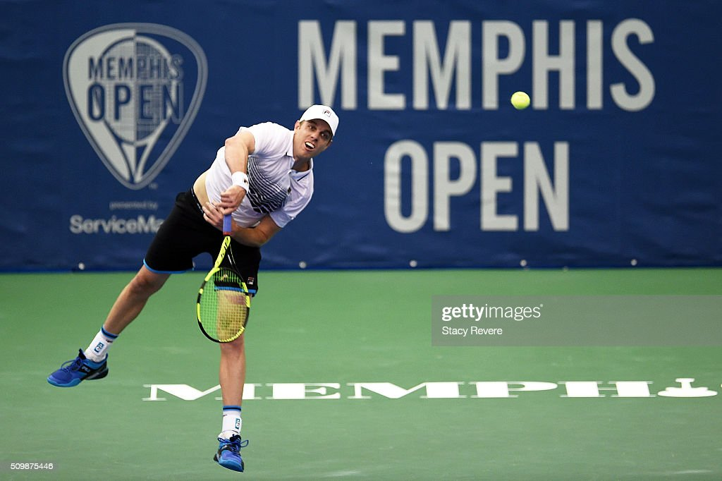 <a gi-track='captionPersonalityLinkClicked' href=/galleries/search?phrase=Sam+Querrey&family=editorial&specificpeople=736491 ng-click='$event.stopPropagation()'>Sam Querrey</a> of the United States serves to Yoshihito Nishioka of Japan during their quarterfinal singles match on Day 5 of the Memphis Open at the Racquet Club of Memphis on February 12, 2016 in Memphis, Tennessee.