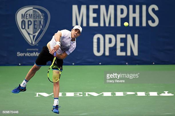 Sam Querrey of the United States serves to Yoshihito Nishioka of Japan during their quarterfinal singles match on Day 5 of the Memphis Open at the...