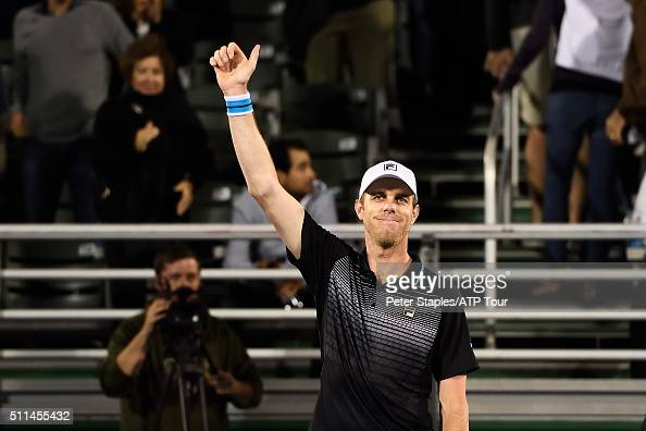 Sam Querrey of the US in action defeating Juan Martin Del Potro of Argentina in the SemiFinals at the Delray Beach Open at Delray Beach Stadium...