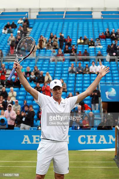 Sam Querrey of the USA celebrates after winning his mens singles quarterfinal round match against Ivan Dodig of Croatia on day five of the AEGON...
