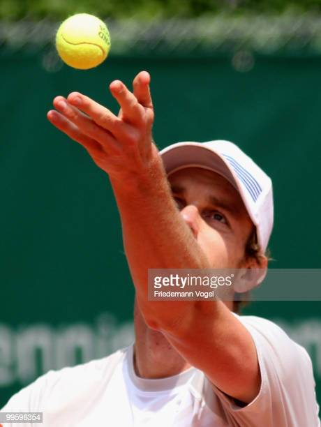 Sam Querrey of the USA in action during his match against Peter Luczak of Australia during day one of the ARAG World Team Cup at the Rochusclub on...