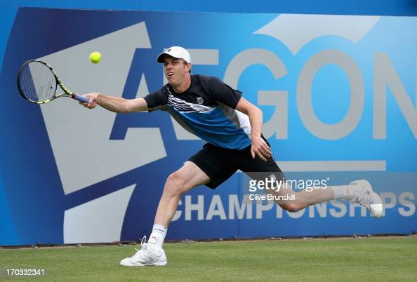 Sam Querrey of the USA plays a forehand shot during his Men's Singles second round match against Aljaz Bedene of Slovenia on day two of the AEGON...