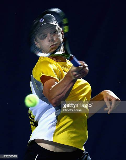 Sam Querrey of the USA returns a shot to Ricardas Berankis of Lithuania in the quarterfinals match during day 5 of the WinstonSalem Open at Wake...