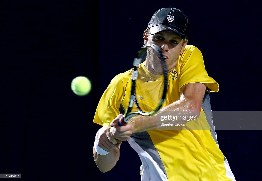 <a gi-track='captionPersonalityLinkClicked' href=/galleries/search?phrase=Sam+Querrey&family=editorial&specificpeople=736491 ng-click='$event.stopPropagation()'>Sam Querrey</a> of the USA returns a shot to Ricardas Berankis of Lithuania in the quarterfinals match during day 5 of the Winston-Salem Open at Wake Forest University on August 22, 2013 in Winston Salem, North Carolina.