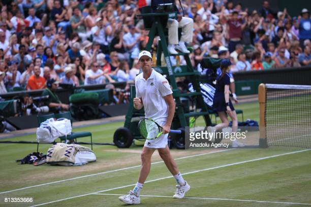 Sam Querrey of United States celebrates after winning against Andy Murray of Great Britain on day nine of the 2017 Wimbledon Championships at the All...