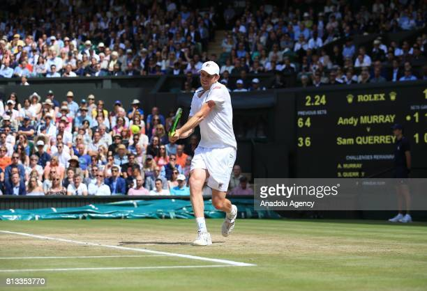 Sam Querrey of United States in action against Andy Murray of Great Britain on day nine of the 2017 Wimbledon Championships at the All England Lawn...