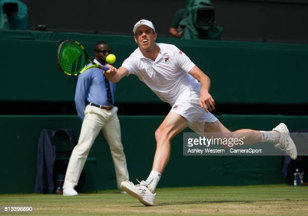 Sam Querrey of United States in action during his victory against Andy Murray of Great Britain in their Men's Singles Quarter Final Match at...