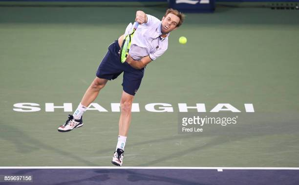 Sam Querrey of United States returns a shot against during the Men's singles mach against Yuichi Sugita of Japan on day 3 of Shanghai Rolex Masters...