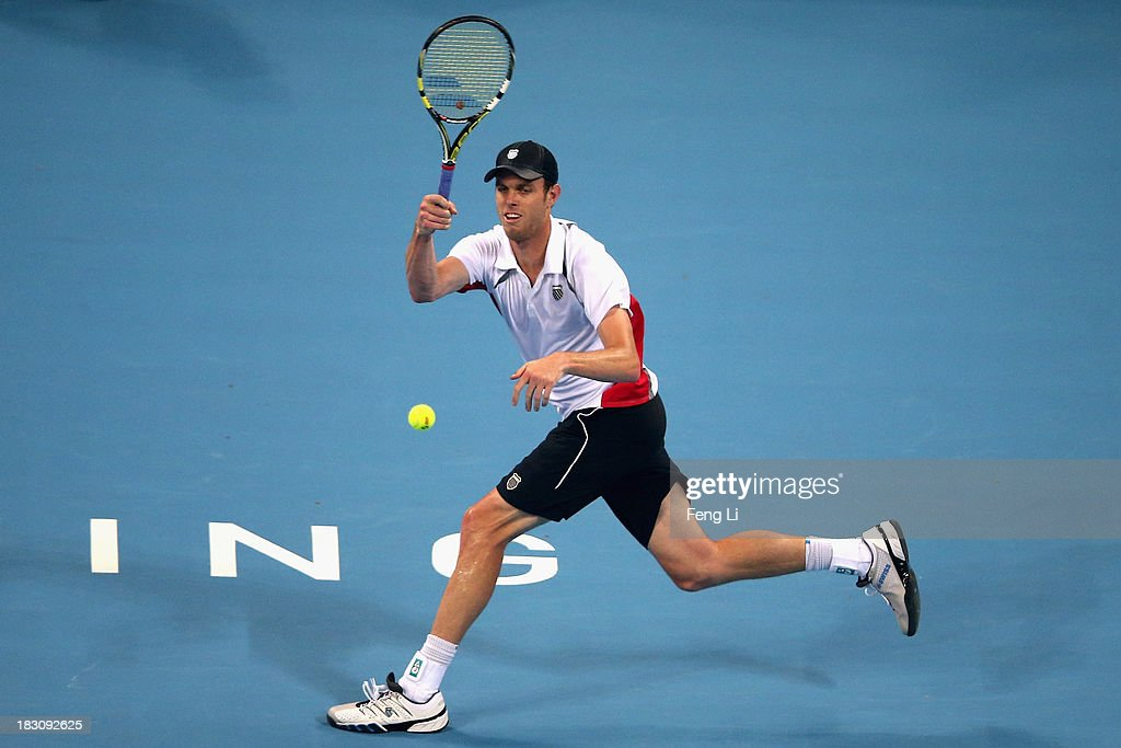 Sam Querrey of United States returns a shot during his men's quarter-final match against Novak Djokovic of Serbia on day seven of the 2013 China Open at the National Tennis Center on October 4, 2013 in Beijing, China.