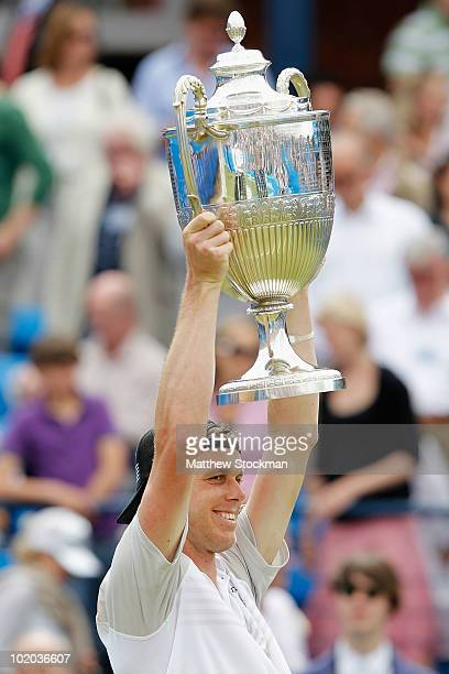 Sam Querrey of USA celebrates winning his men's final match against Mardy Fish of USA on Day 7 of the the AEGON Championships at Queen's Club on June...