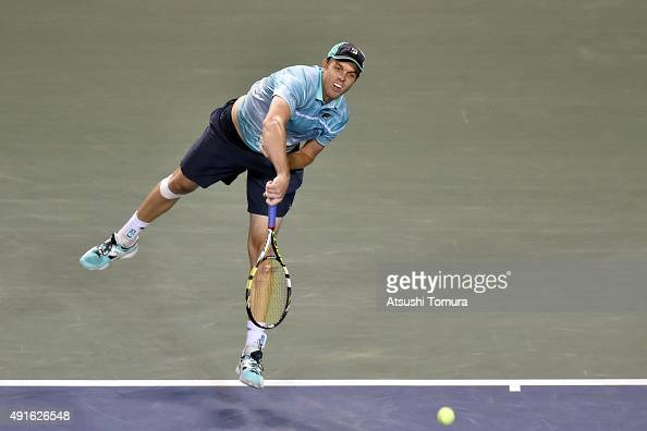 Sam Querrey of USA competes against Kei Nishikori of Japan during the men's singles second round match on day three of Rakuten Open 2015 at Ariake...