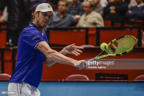 Sam Querrey of USA in action against Pablo Cuevas of Uruguai and Rohan Boppana of India during Erste Bank Open 500 tournament doubles tennis final...