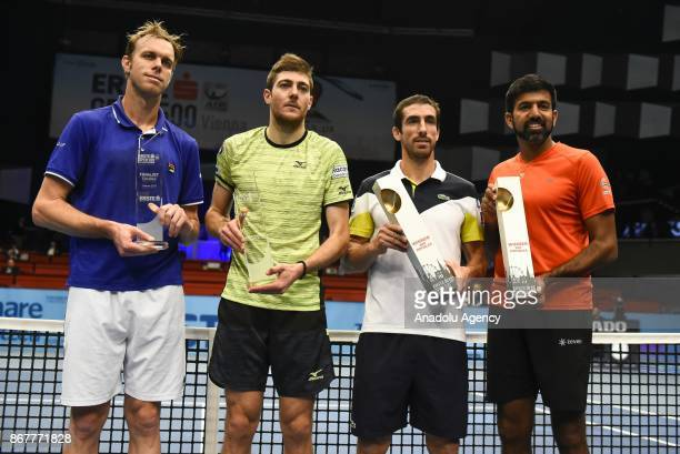 Sam Querrey of USA Marcelo Demoliner of Brazil Pablo Cuevas of Uruguai and Rohan Bopanna of India pose for a picture with their awards during Erste...