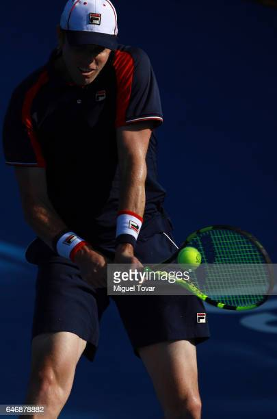 Sam Querrey of USA returns the ball during the match between Sam Querrey and David Goffin as part of the Abierto Mexicano Telcel 2017 at the Fairmont...