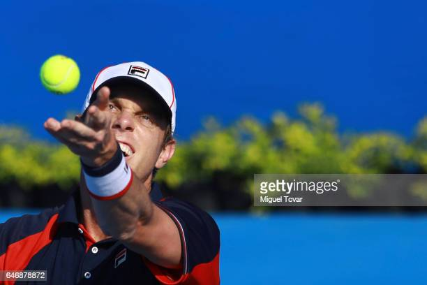 Sam Querrey of USA serves during the match between Sam Querrey and David Goffin as part of the Abierto Mexicano Telcel 2017 at the Fairmont Acapulco...