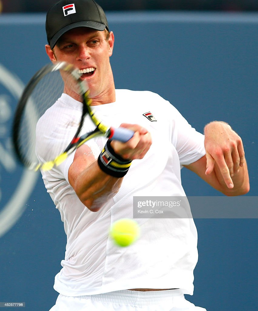 <a gi-track='captionPersonalityLinkClicked' href=/galleries/search?phrase=Sam+Querrey&family=editorial&specificpeople=736491 ng-click='$event.stopPropagation()'>Sam Querrey</a> returns a forehand to Dudi Sela of Israel during the BB&T Atlanta Open at Atlantic Station on July 23, 2014 in Atlanta, Georgia.