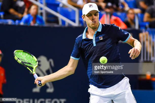 Sam Querrey returns the ball during his second round match at ATP Coupe Rogers on August 9 at Uniprix Stadium in Montreal QC
