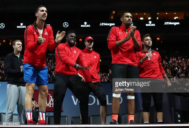 Sam Querrey Thanasi Kokkinakis Frances Tiafoe John Isner Nick Kyrgios and Jack Sock of Team World react on the players bench as Denis Shapovalov of...