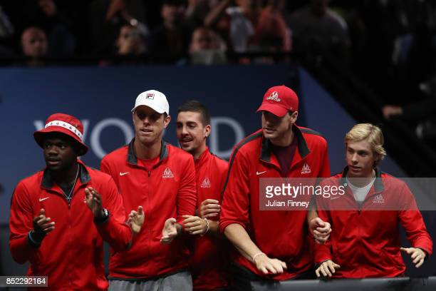 Sam Querrey Thanasi Kokkinakis John Isner Denis Shapovalov and Frances Tiafoe of Team World watch Rafael Nadal of Team Europe as he plays his singles...