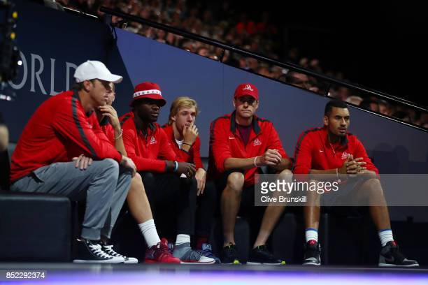 Sam Querrey Thanasi Kokkinakis John Isner Denis Shapovalov Frances Tiafoe and Nick Kyrgios of Team World watch Rafael Nadal of Team Europe as he...