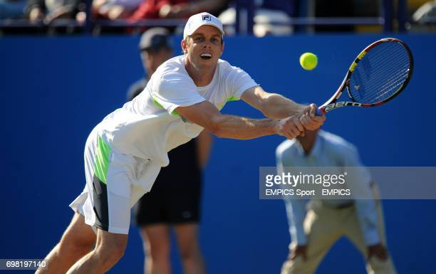 Sam Querry in action against Feliciano Lopez during the AEGON International at Devonshire Park Eastbourne