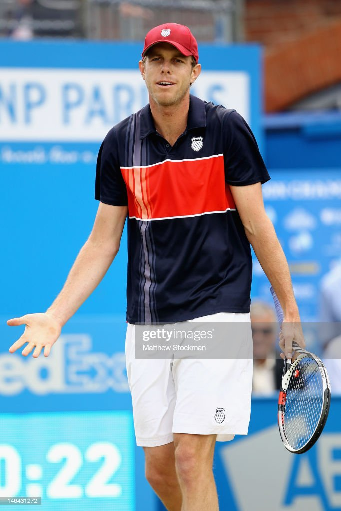 Sam Querry of the USA shows his frustration during his mens singles semi-final match against Marin Cilic of Croatia on day six of the AEGON Championships at Queens Club on June 16, 2012 in London, England.