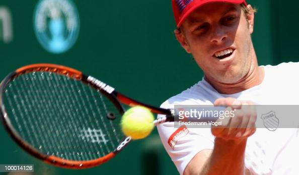 Sam Querry of USA in action during his match against Jan Hajek of Czech Republic during day five of the ARAG World Team Cup at the Rochusclub on May...