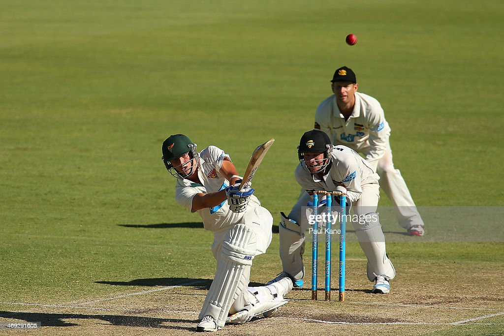 Sam Rainbird of the Tigers hits a six during day three of the Sheffield Shield match between the Western Australia Warriors and the Tasmania Tigers at the WACA on February 14, 2014 in Perth, Australia.