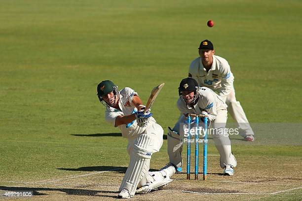 Sam Rainbird of the Tigers hits a six during day three of the Sheffield Shield match between the Western Australia Warriors and the Tasmania Tigers...
