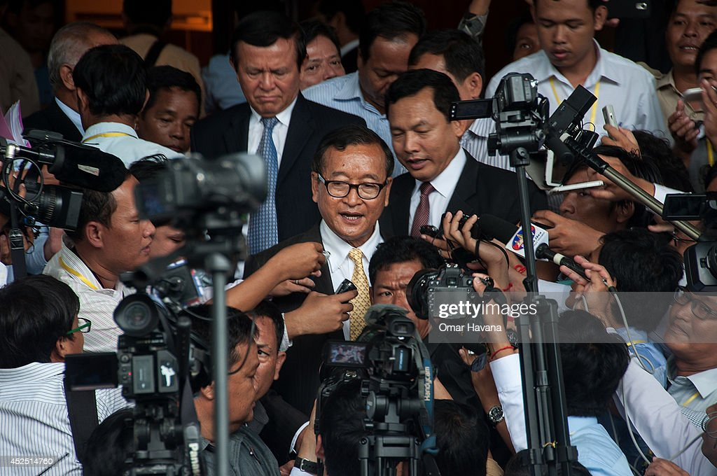 Sam Rainsy President of the Cambodia National Rescue Party addresses the media after a meeting with the Cambodian Prime Minister Hun Sen during which...
