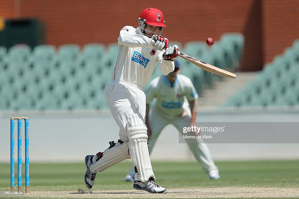Sam Raphael of the Redbacks bats during day three of the Sheffield Shield match between the South Australian Redbacks and the New South Wales Blues at Adelaide Oval on February 21, 2013 in Adelaide, Australia.