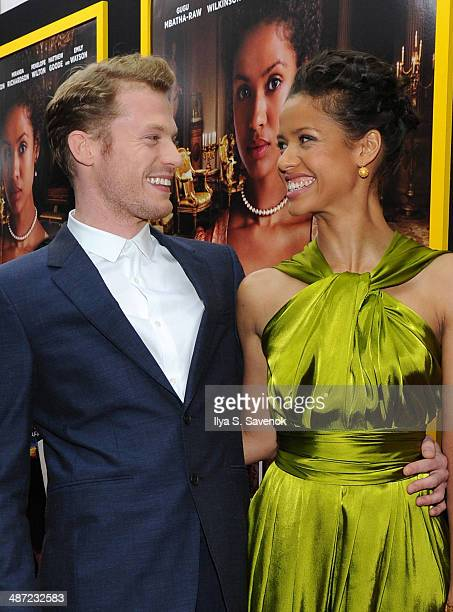 Sam Reid and Gugu MbathaRaw attend the 'Belle' premiere at The Paris Theatre on April 28 2014 in New York City