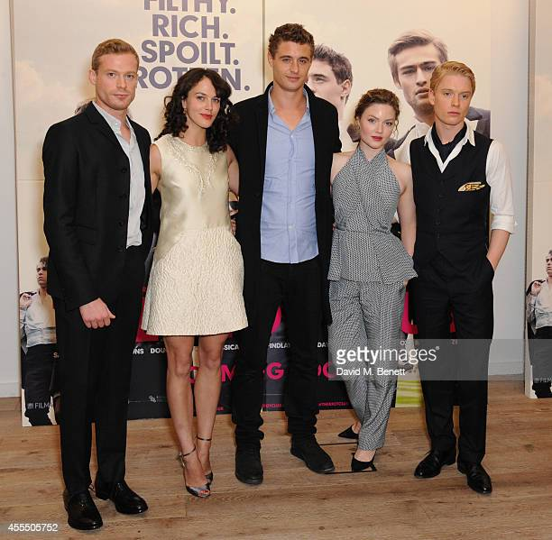 Sam Reid Jessica Brown Findlay Max Irons Holliday Grainger and Freddie Fox poses at 'The Riot Club' photocall at the BFI Southbank on September 15...