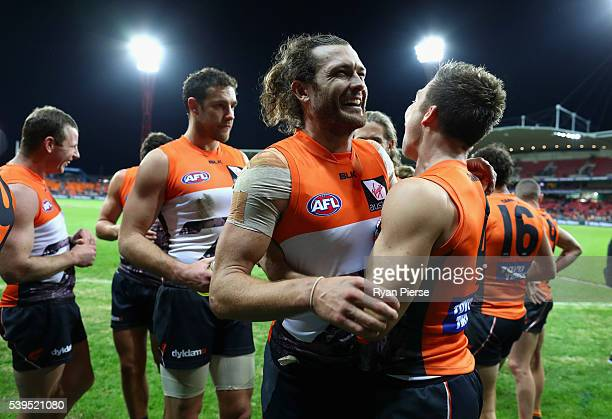 Sam Reid of the Giants celebrates after the round 12 AFL match between the Greater Western Sydney Giants and the Sydney Swans at Spotless Stadium on...