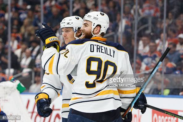 Sam Reinhart and Ryan O'Reilly of the Buffalo Sabres celebrate a goal against the Edmonton Oilers on October 16 2016 at Rogers Place in Edmonton...