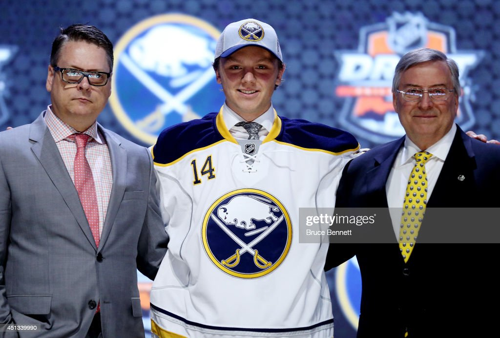 <a gi-track='captionPersonalityLinkClicked' href=/galleries/search?phrase=Sam+Reinhart&family=editorial&specificpeople=9984450 ng-click='$event.stopPropagation()'>Sam Reinhart</a> is selected second overall by the Buffalo Sabres in the first round of the 2014 NHL Draft at the Wells Fargo Center on June 27, 2014 in Philadelphia, Pennsylvania.